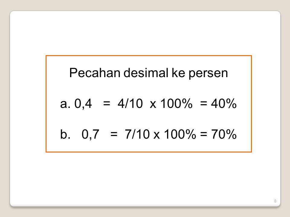 8 Pecahan desimal ke persen a. 0,4 = 4/10 x 100% = 40% b. 0,7 = 7/10 x 100% = 70%