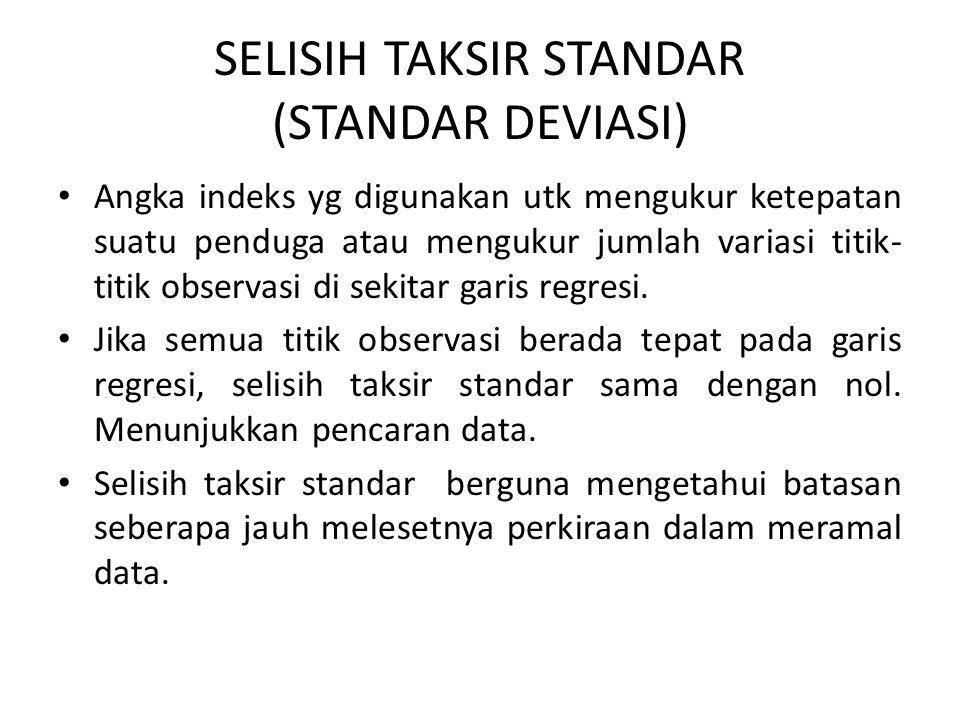 SELISIH TAKSIR STANDAR (STANDAR DEVIASI) Angka indeks yg digunakan utk mengukur ketepatan suatu penduga atau mengukur jumlah variasi titik- titik obse