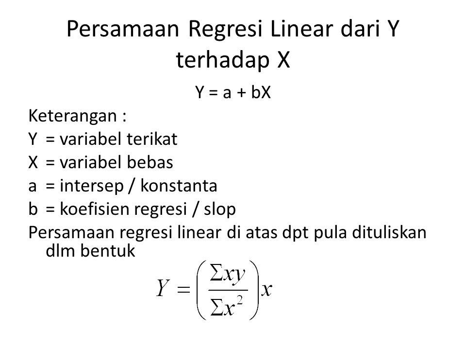 Persamaan Regresi Linear dari Y terhadap X Y = a + bX Keterangan : Y= variabel terikat X= variabel bebas a= intersep / konstanta b= koefisien regresi