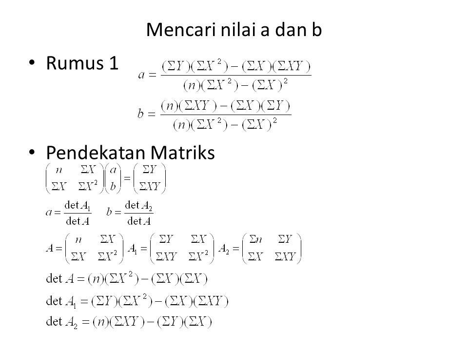 Mencari nilai a dan b Rumus 1 Pendekatan Matriks