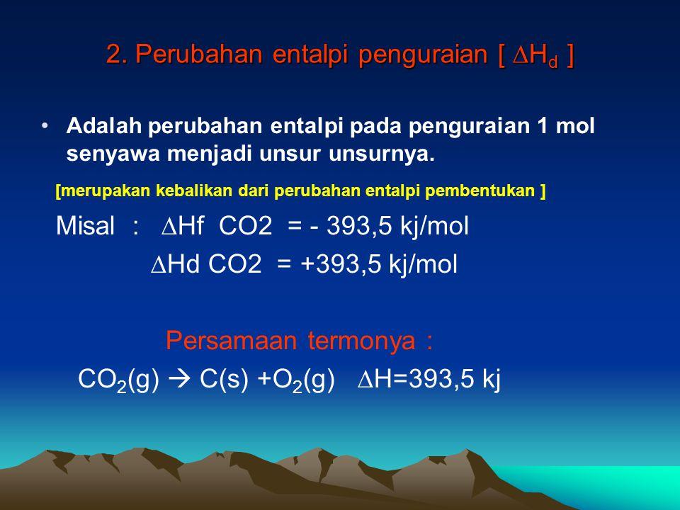 2. Perubahan entalpi penguraian [ ∆H d ] Adalah perubahan entalpi pada penguraian 1 mol senyawa menjadi unsur unsurnya. [merupakan kebalikan dari peru