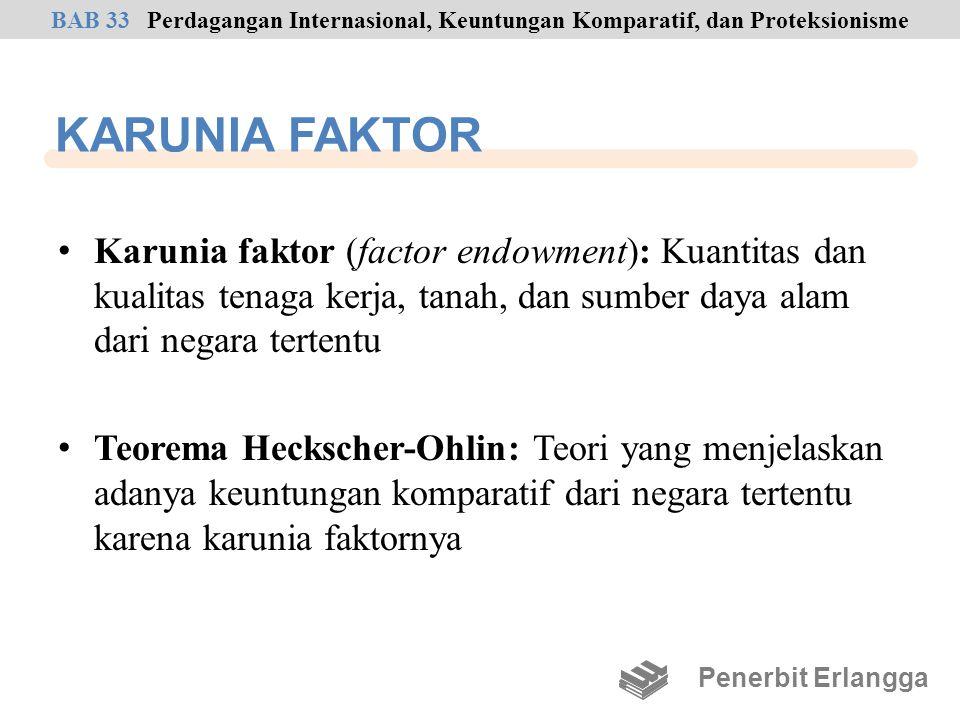 KARUNIA FAKTOR Karunia faktor (factor endowment): Kuantitas dan kualitas tenaga kerja, tanah, dan sumber daya alam dari negara tertentu Teorema Hecksc