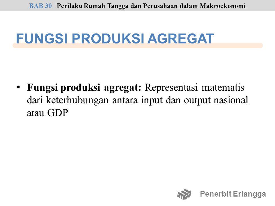FUNGSI PRODUKSI AGREGAT Fungsi produksi agregat: Representasi matematis dari keterhubungan antara input dan output nasional atau GDP Penerbit Erlangga