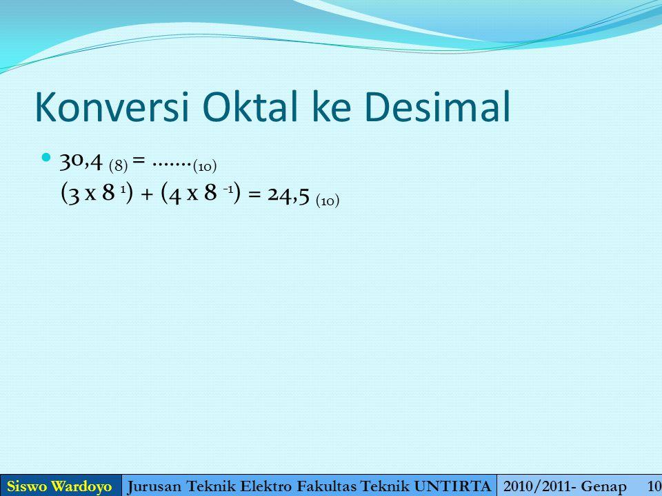 Konversi Desimal ke Oktal 32 (10) = …….. (8) 32 : 8 = 4 Sisa 0 Jadi Hasilnya adalah 40 (8) 400 (10) = …….. (8) 400 : 8 = 50 sisa 0= 620 50 : 8= 6sisa