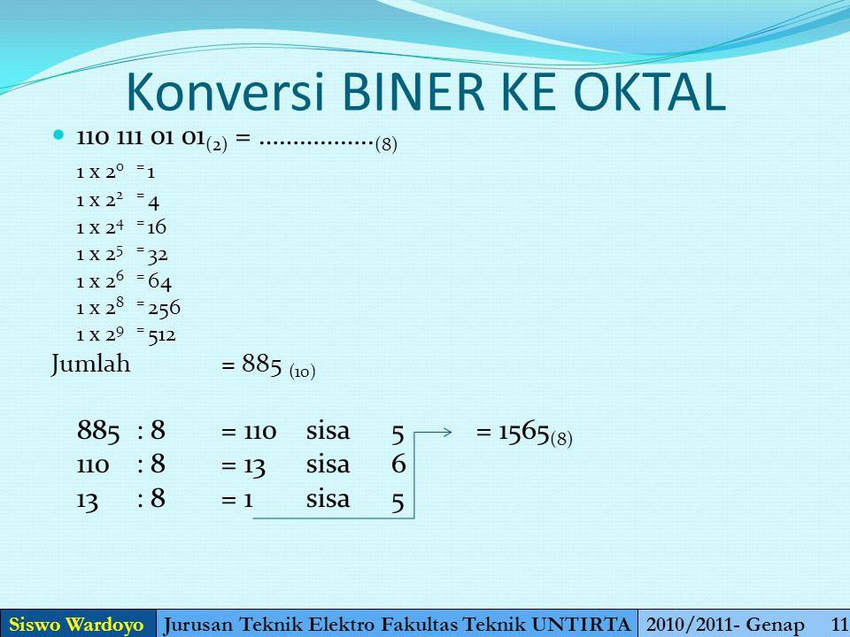 Konversi Oktal ke Desimal 30,4 (8) = ……. (10) (3 x 8 1 ) + (4 x 8 -1 ) = 24,5 (10) Siswo WardoyoJurusan Teknik Elektro Fakultas Teknik UNTIRTA2010/201