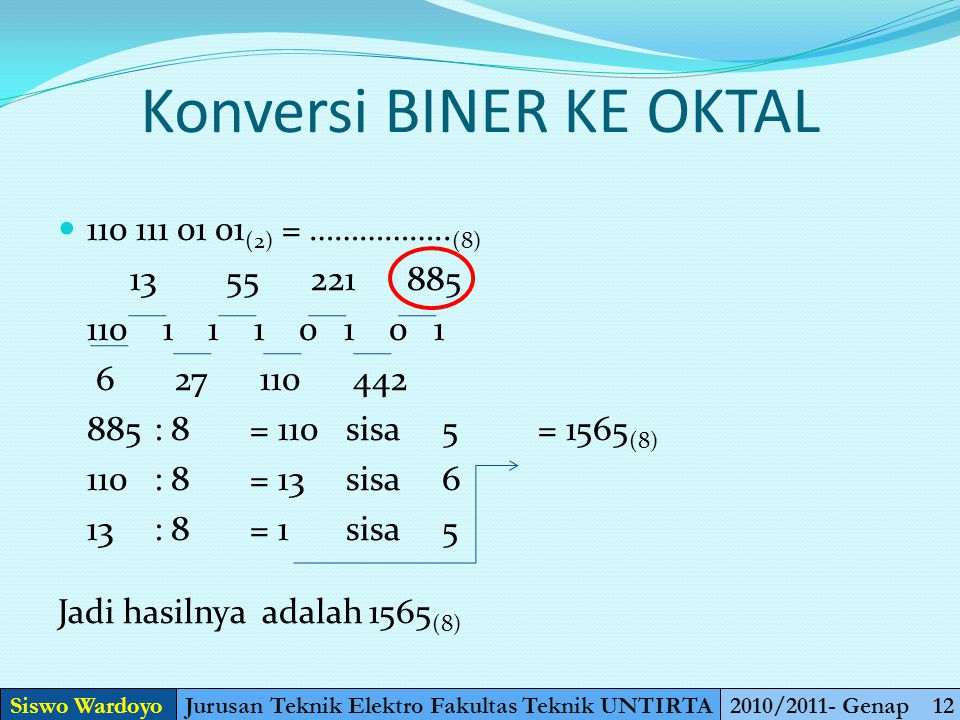 Konversi BINER KE OKTAL 110 111 01 01 (2) = …………….. (8) 1 x 2 0 = 1 1 x 2 2 = 4 1 x 2 4 = 16 1 x 2 5 = 32 1 x 2 6 = 64 1 x 2 8 = 256 1 x 2 9 = 512 Jum