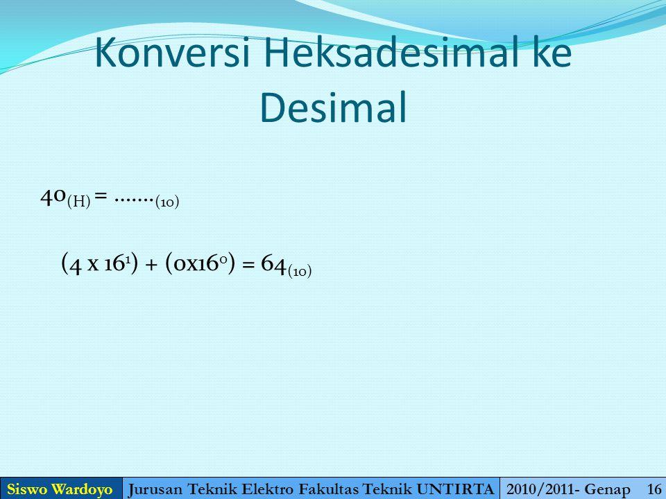 Konversi Heksadesimal ke Biner 40 (H) = ……. (2) Dijadikan desimal (4 x 16 1 ) + (0x16 0 ) = 64 (10) Dijadikan biner 64 : 2 = 32sisa 0 = 1000000 (2) 32