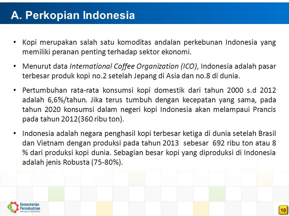 10 A. Perkopian Indonesia Kopi merupakan salah satu komoditas andalan perkebunan Indonesia yang memiliki peranan penting terhadap sektor ekonomi. Menu