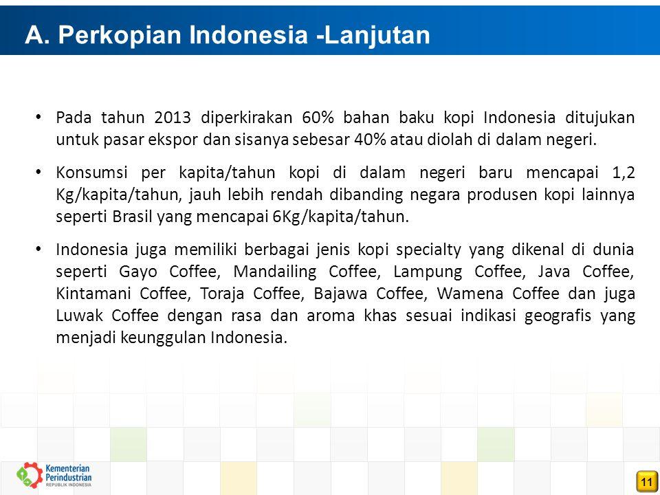 11 A. Perkopian Indonesia -Lanjutan Pada tahun 2013 diperkirakan 60% bahan baku kopi Indonesia ditujukan untuk pasar ekspor dan sisanya sebesar 40% at