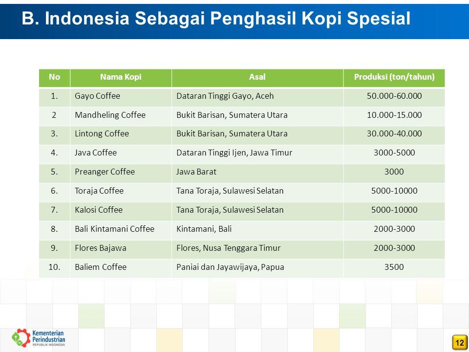 12 B. Indonesia Sebagai Penghasil Kopi Spesial NoNama KopiAsalProduksi (ton/tahun) 1.Gayo CoffeeDataran Tinggi Gayo, Aceh50.000-60.000 2Mandheling Cof
