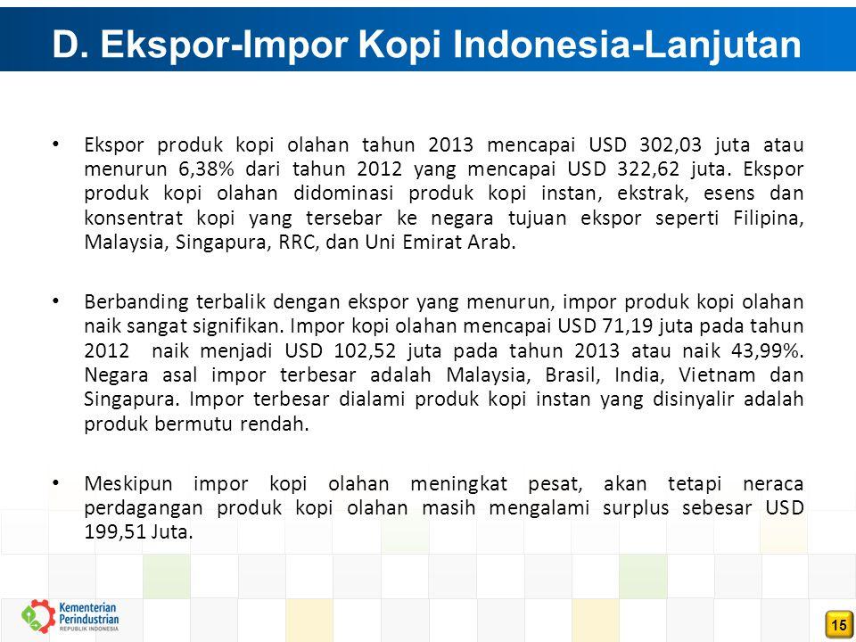 15 D. Ekspor-Impor Kopi Indonesia-Lanjutan (Lanjutan) Ekspor produk kopi olahan tahun 2013 mencapai USD 302,03 juta atau menurun 6,38% dari tahun 2012