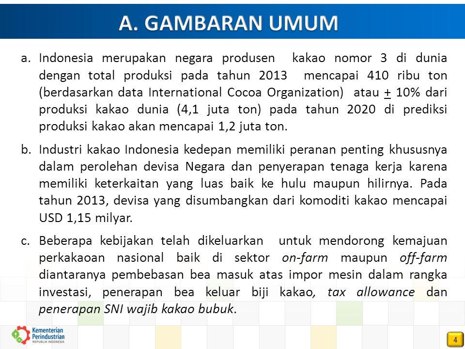 4 a.Indonesia merupakan negara produsen kakao nomor 3 di dunia dengan total produksi pada tahun 2013 mencapai 410 ribu ton (berdasarkan data Internati
