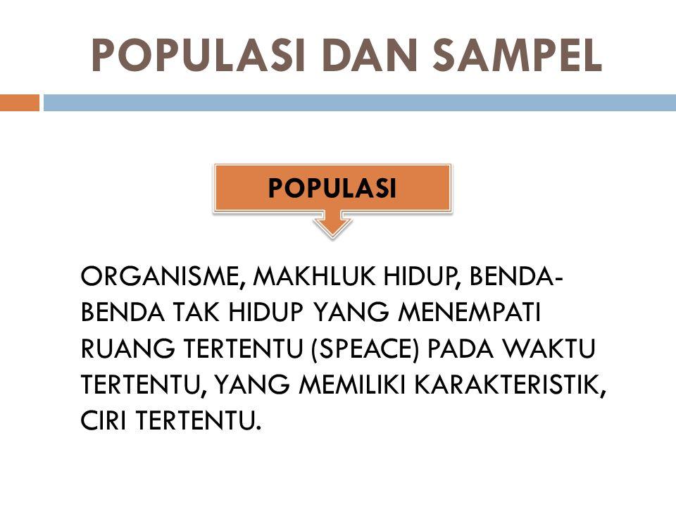 SEBAHAGIAN ANGGOTA POPULASI YANG DIPILIH BERDASARKAN METODE TERTENTU, YANG MEWAKILI KARAKTERISTIK POPULASI (RESPONDEN) SAMPEL YANG BAIK: JUMLAHNYA MENDEKATI POPULASI SAMPEL YANG TIDAK BAIK : JUMLAHNYA SEDIKIT (JAUH DARI JUMLAH ANGGOTA POPULASI) SAMPEL