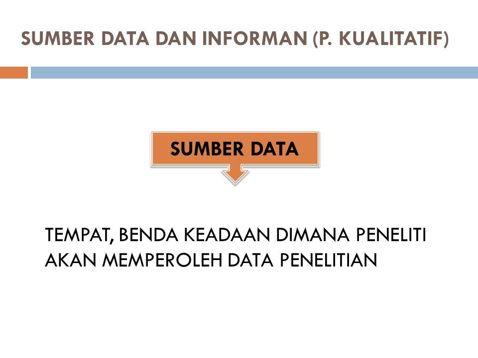SUMBER DATA DAN INFORMAN (P.