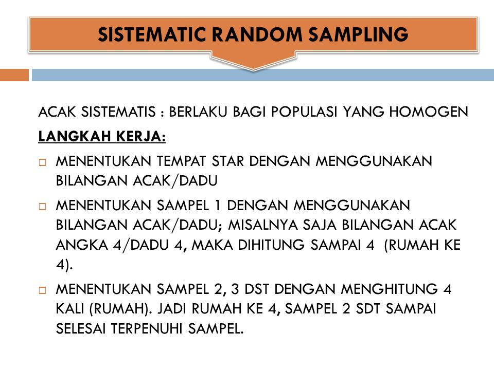 SAMPEL BERSTRATA (SOSIAL EKONOMI) LANGKAH KERJA:  KELOMPOKKAN MASING-MASING STRATA (1), (2), (3)  SETELAH TERBENTUK KELOMPOK, MAKA DENGAN SETIAP STRATA DIAMBIL SAMPEL DENGAN MENGGUNAKAN RANDOM SAMPLING, MISALNYA SETIAP STRATA DIAMBIL 25 SISWA/RT STRATA 1: 25 SAMPEL STRATA 2: 25 SAMPEL STRATA 3: 25 SAMPEL STRATIFIED RANDOM SAMPLING