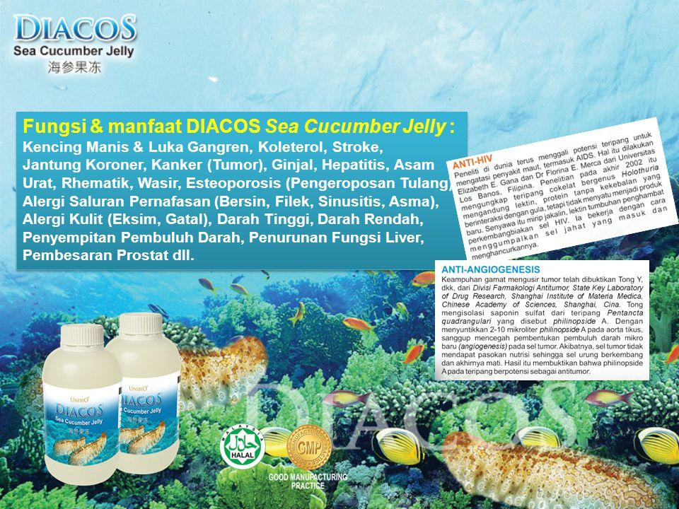 Fungsi & manfaat DIACOS Sea Cucumber Jelly : Kencing Manis & Luka Gangren, Koleterol, Stroke, Jantung Koroner, Kanker (Tumor), Ginjal, Hepatitis, Asam