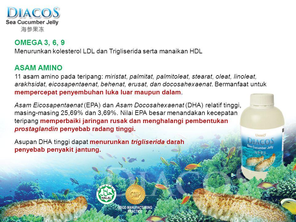 ASAM AMINO 11 asam amino pada teripang: miristat, palmitat, palmitoleat, stearat, oleat, linoleat, arakhsidat, eicosapentaenat, behenat, erusat, dan d