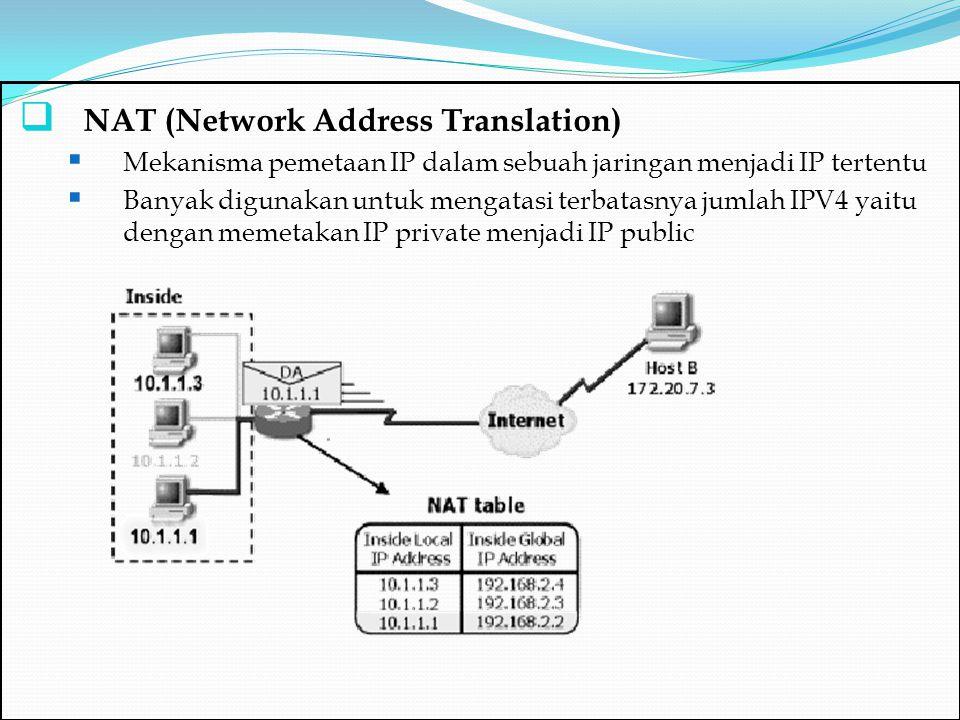  NAT (Network Address Translation)  Mekanisma pemetaan IP dalam sebuah jaringan menjadi IP tertentu  Banyak digunakan untuk mengatasi terbatasnya j