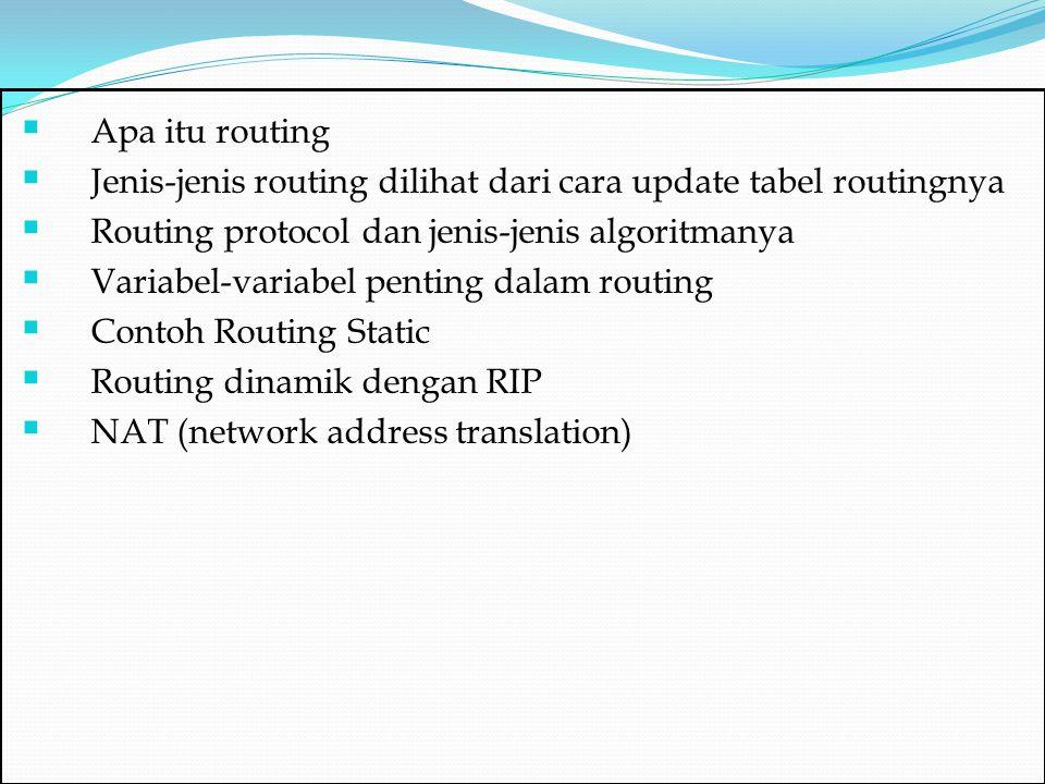  Apa itu routing  Jenis-jenis routing dilihat dari cara update tabel routingnya  Routing protocol dan jenis-jenis algoritmanya  Variabel-variabel