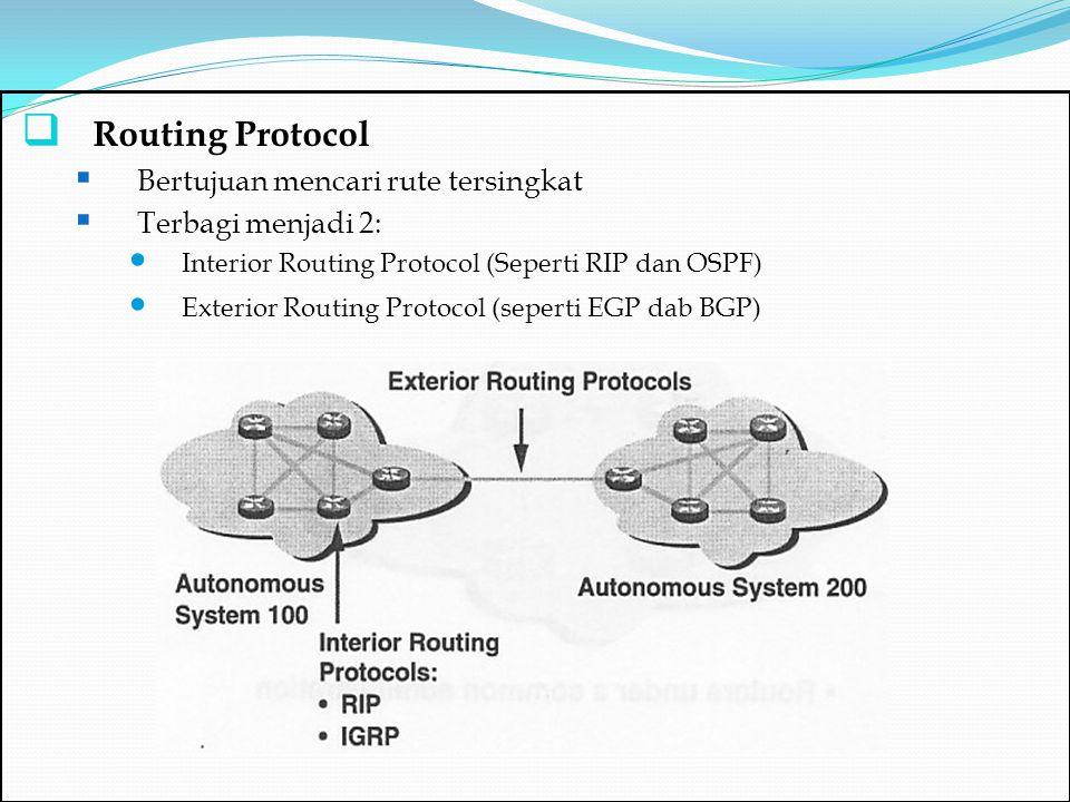  Routing Protocol  Bertujuan mencari rute tersingkat  Terbagi menjadi 2: Interior Routing Protocol (Seperti RIP dan OSPF) Exterior Routing Protocol