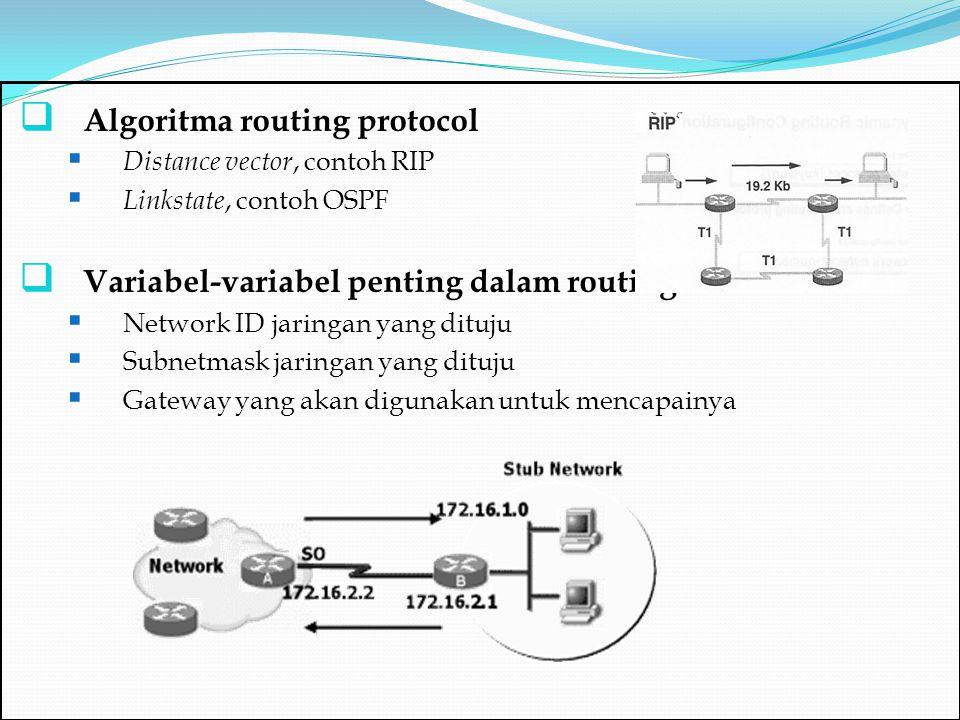  Contoh Routing Static Terdapat 3 jaringan A,B,C:  A = 10.1.2.0 - 10.1.2.127 (SM=255.255.255.128)  B = 10.1.2.128 - 10.1.2.159 (SM =255.255.255.224)  C = 10.1.2.160 - 10.1.2.191 (SM=255.255.255.224) Konfigurasikan agar semua jaringan dapat saling berkomunikasi!