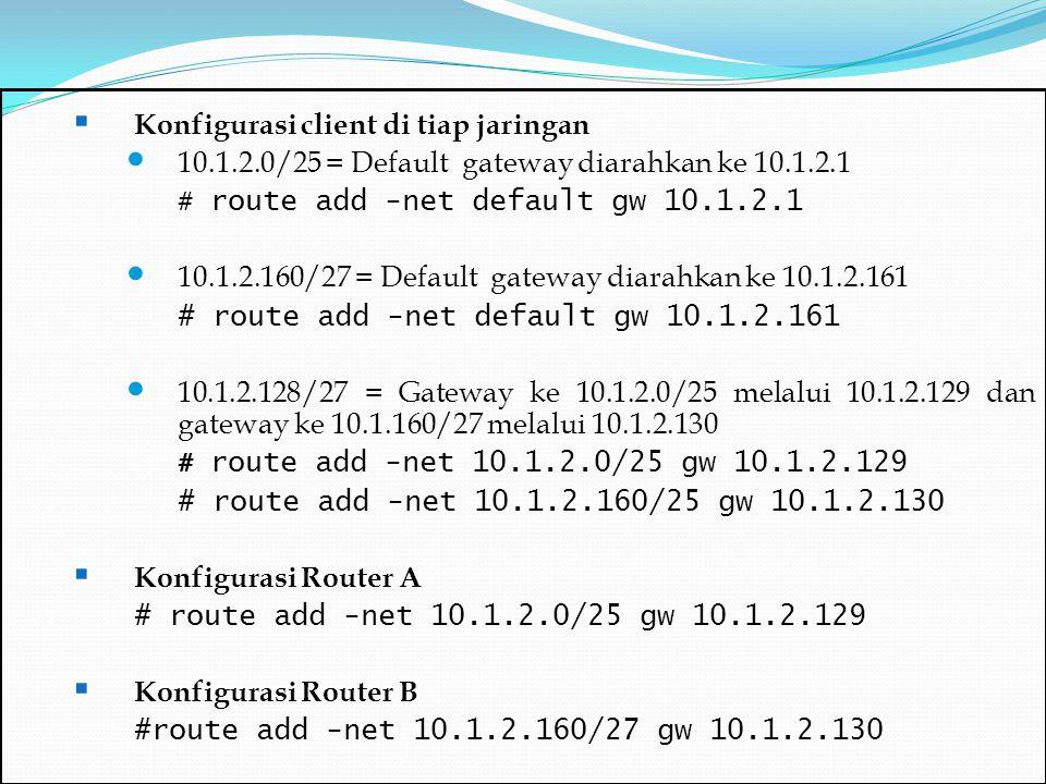  Konfigurasi client di tiap jaringan 10.1.2.0/25 = Default gateway diarahkan ke 10.1.2.1 # route add -net default gw 10.1.2.1 10.1.2.160/27 = Default