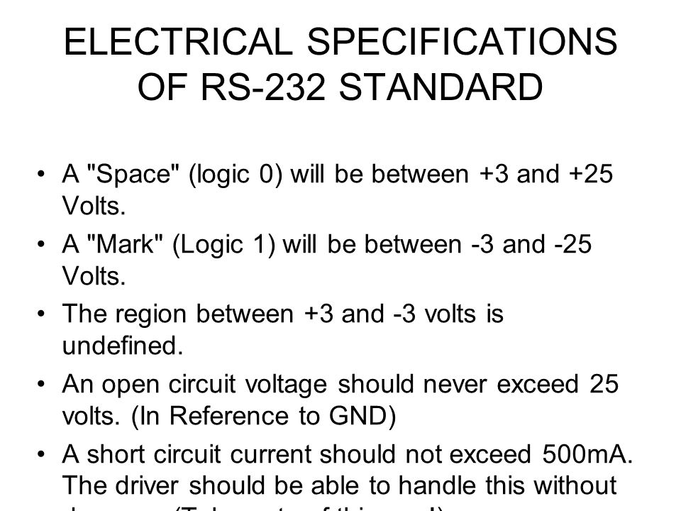 ELECTRICAL SPECIFICATIONS OF RS-232 STANDARD A Space (logic 0) will be between +3 and +25 Volts.