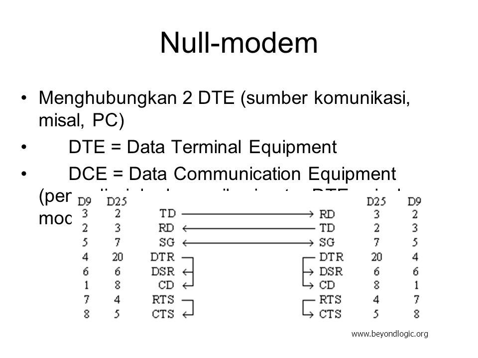 Serial dengan VisualBasic Disediakan komponen MSComm MSComm1.CommPort = 1 MSComm1.Settings = 9600,N,8,1 MSComm1.InputLen = 0 MSComm1.PortOpen = True MSComm1.Output = data Baca = MSComm1.Input MSComm1.PortOpen = False