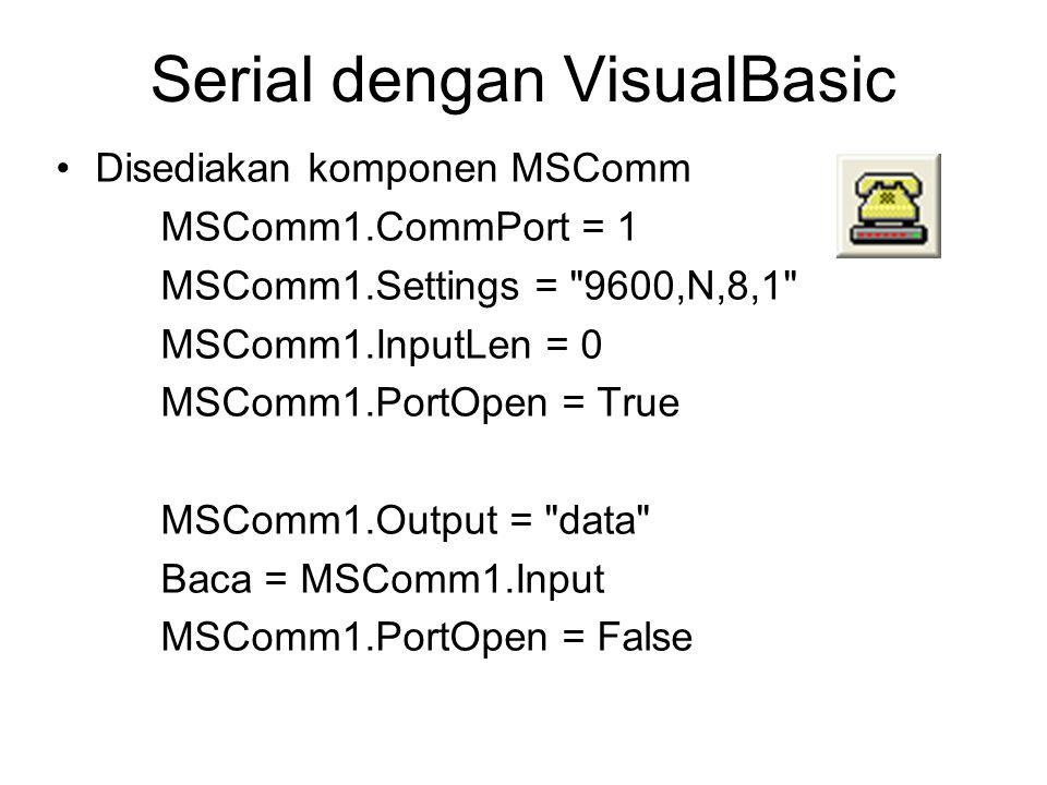 So………. 1. Buat program sederhana untuk mengirim dan menerima data secara serial lewat Com1…..