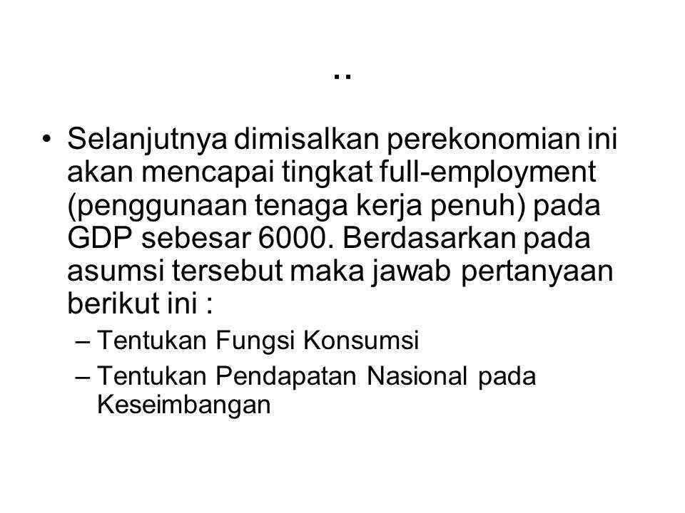 .. Selanjutnya dimisalkan perekonomian ini akan mencapai tingkat full-employment (penggunaan tenaga kerja penuh) pada GDP sebesar 6000. Berdasarkan pa
