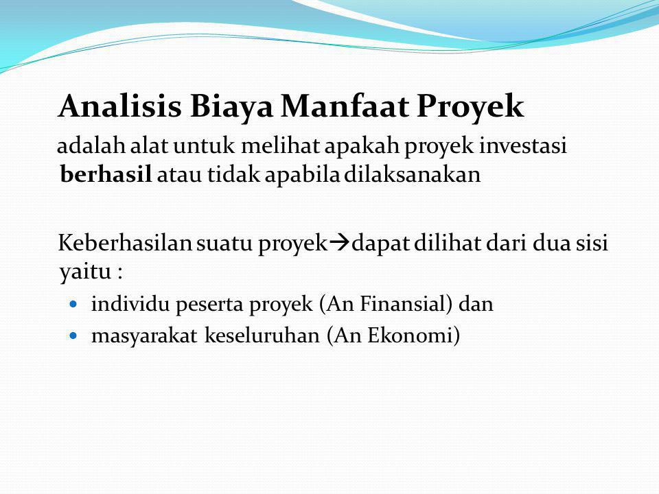 Analisis Biaya Manfaat Proyek adalah alat untuk melihat apakah proyek investasi berhasil atau tidak apabila dilaksanakan Keberhasilan suatu proyek  dapat dilihat dari dua sisi yaitu : individu peserta proyek (An Finansial) dan masyarakat keseluruhan (An Ekonomi)