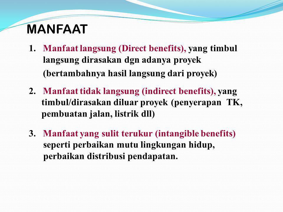 1.Manfaat langsung (Direct benefits), yang timbul langsung dirasakan dgn adanya proyek (bertambahnya hasil langsung dari proyek) 3. Manfaat yang sulit