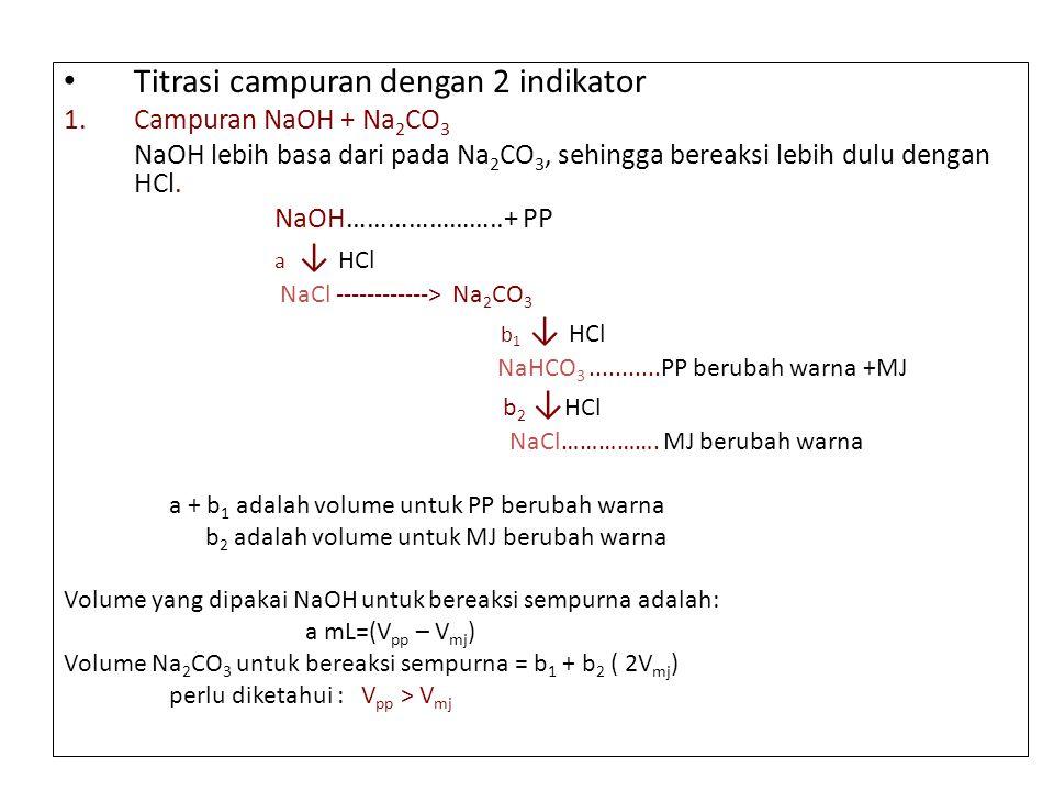 Titrasi campuran dengan 2 indikator 1. Campuran NaOH + Na 2 CO 3 NaOH lebih basa dari pada Na 2 CO 3, sehingga bereaksi lebih dulu dengan HCl. NaOH………