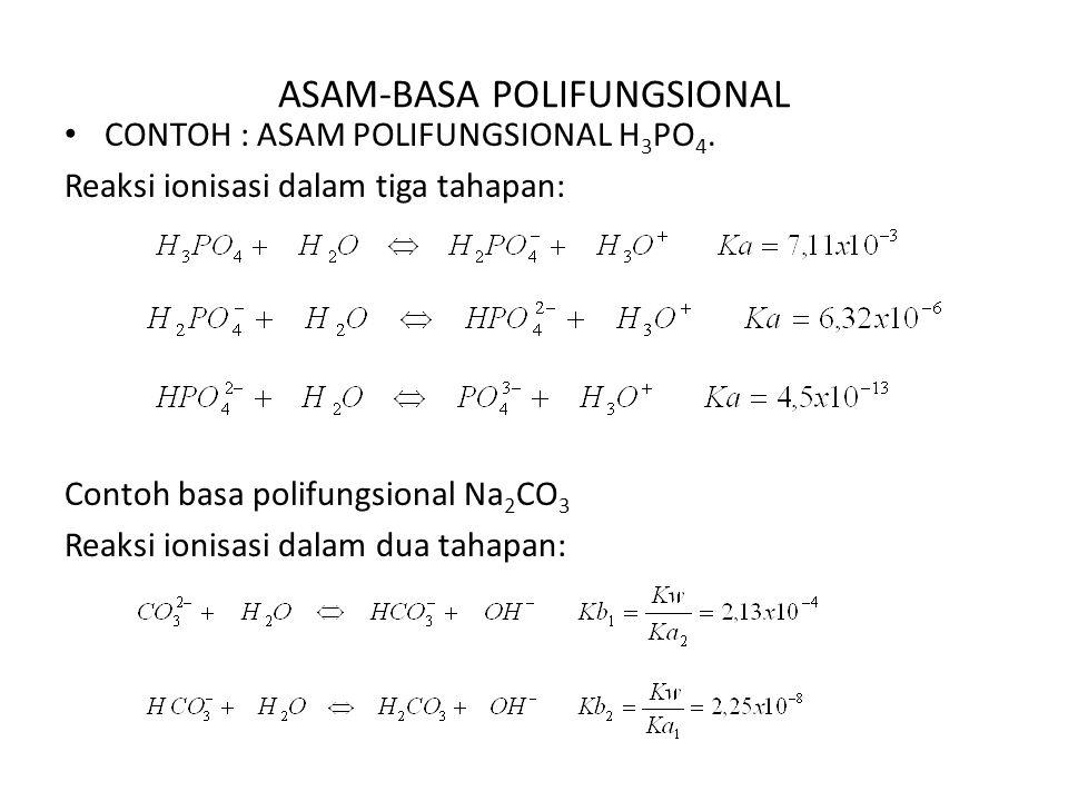 ASAM-BASA POLIFUNGSIONAL CONTOH : ASAM POLIFUNGSIONAL H 3 PO 4. Reaksi ionisasi dalam tiga tahapan: Contoh basa polifungsional Na 2 CO 3 Reaksi ionisa