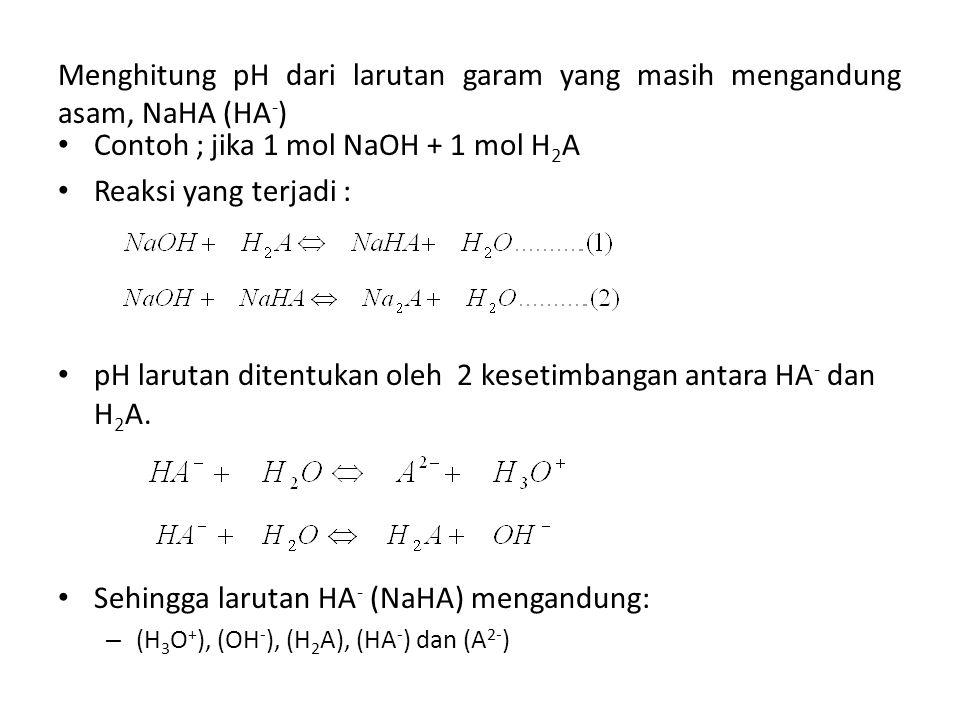 Menghitung pH dari larutan garam yang masih mengandung asam, NaHA (HA - ) Contoh ; jika 1 mol NaOH + 1 mol H 2 A Reaksi yang terjadi : pH larutan dite