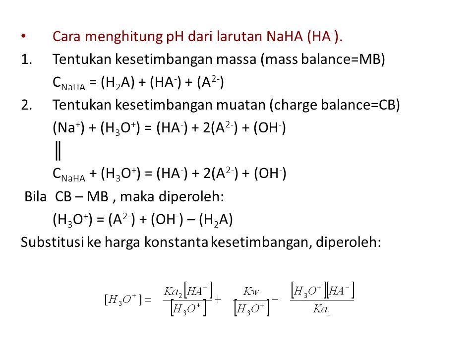 Cara menghitung pH dari larutan NaHA (HA - ). 1.Tentukan kesetimbangan massa (mass balance=MB) C NaHA = (H 2 A) + (HA - ) + (A 2- ) 2.Tentukan kesetim