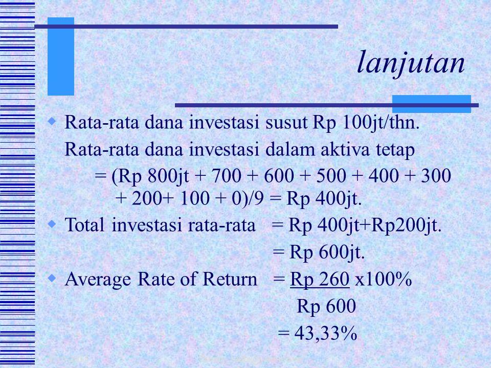 1/10/2015 fahmy_radhi@yahoo.com12 PendapatanRp 1.500jt Biaya -biaya: - Operasional tunai Rp 1.000jt - Penyusutan (Rp 800jt/8)Rp 1.100jt Laba sblm paja