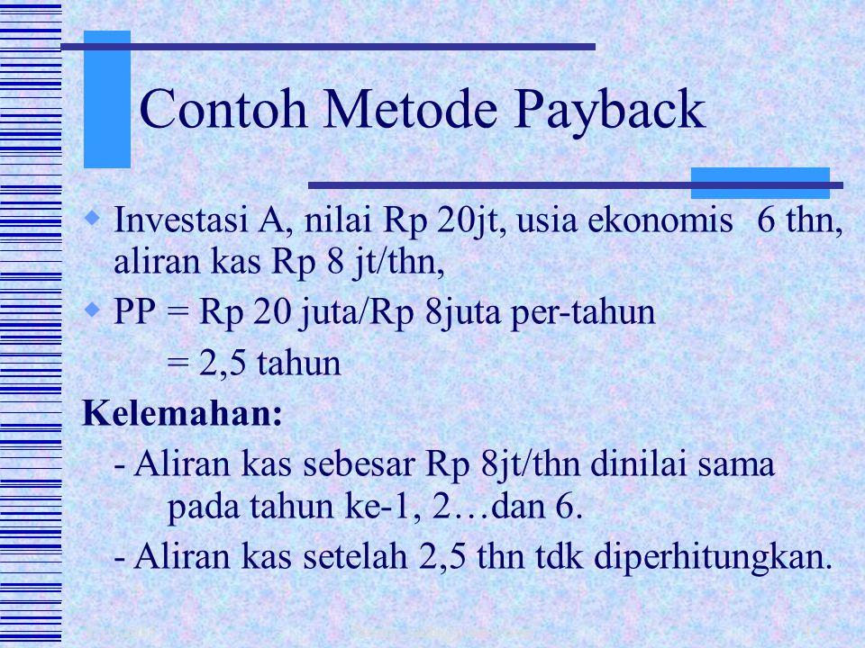 1/10/2015 fahmy_radhi@yahoo.com14  Mengukur seberapa cepat dana investasi bisa kembali.  PP = Investasi. Aliran Kas/thn.  Kelemahan: - Diabaikannya