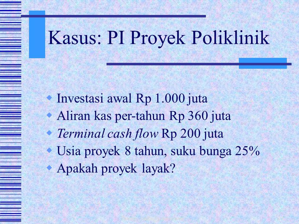 1/10/2015 fahmy_radhi@yahoo.com22  Perbandingan antara nilai sekarang penerimaan kas masa datang dengan nilai sekarang investasi.  PI = PV Kas Masuk