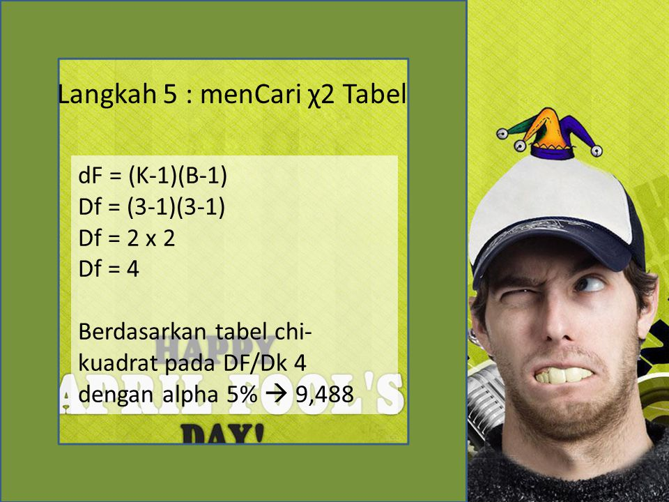 Langkah 5 : menCari χ2 Tabel dF = (K-1)(B-1) Df = (3-1)(3-1) Df = 2 x 2 Df = 4 Berdasarkan tabel chi- kuadrat pada DF/Dk 4 dengan alpha 5%  9,488