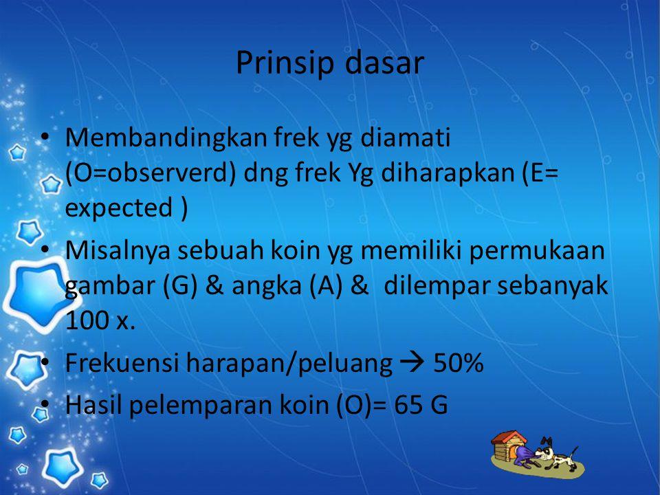 Prinsip dasar Membandingkan frek yg diamati (O=observerd) dng frek Yg diharapkan (E= expected ) Misalnya sebuah koin yg memiliki permukaan gambar (G)