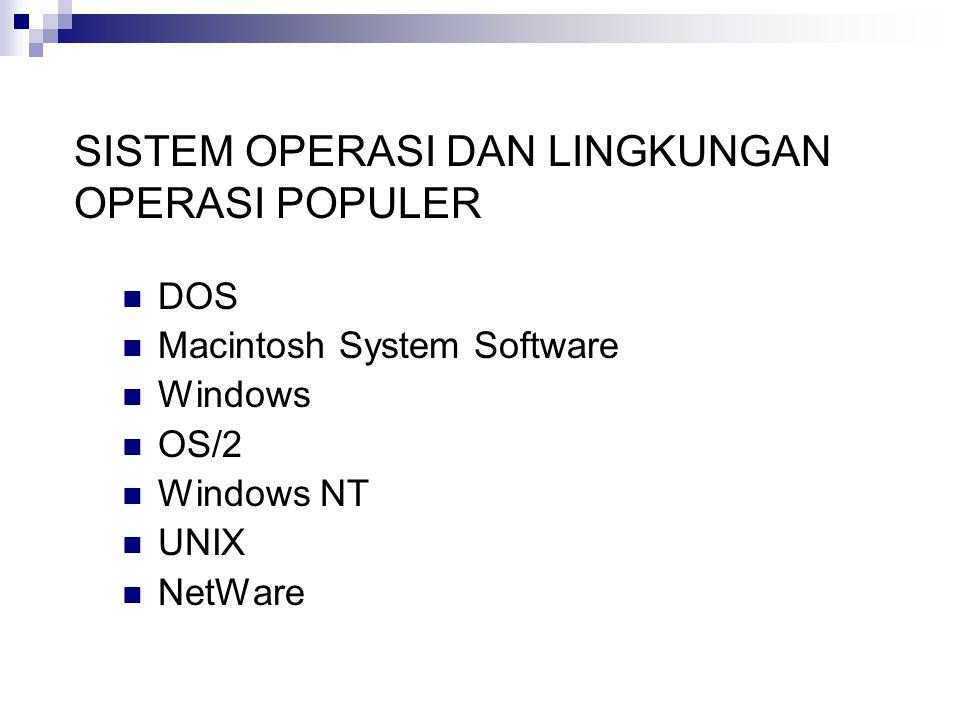 SISTEM OPERASI DAN LINGKUNGAN OPERASI POPULER DOS Macintosh System Software Windows OS/2 Windows NT UNIX NetWare