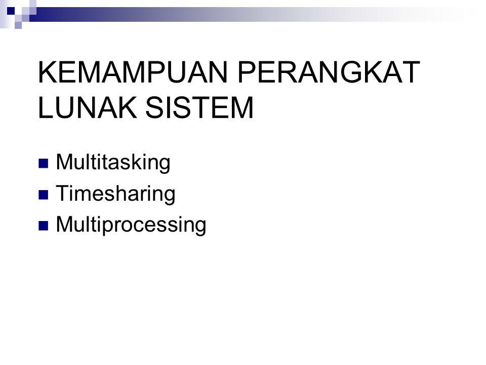 KEMAMPUAN PERANGKAT LUNAK SISTEM Multitasking Timesharing Multiprocessing