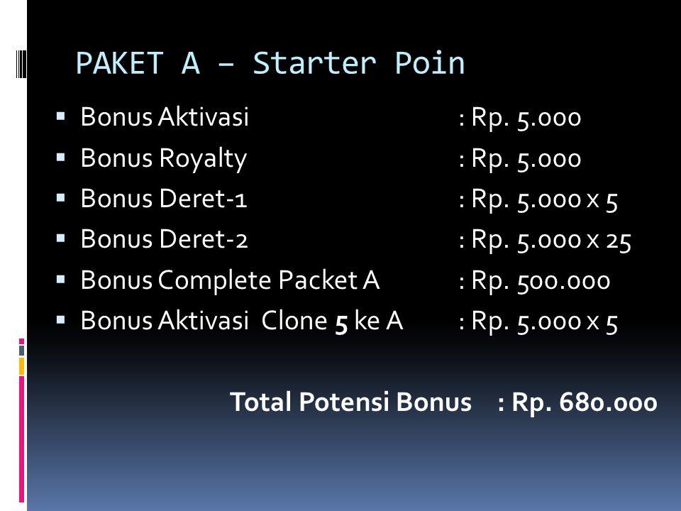 PAKET A – Starter Poin  Bonus Aktivasi: Rp. 5.000  Bonus Royalty: Rp. 5.000  Bonus Deret-1: Rp. 5.000 x 5  Bonus Deret-2: Rp. 5.000 x 25  Bonus C