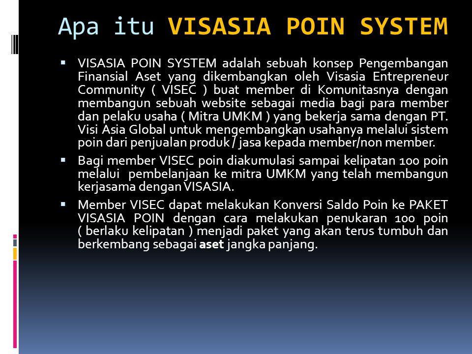 VISASIA POIN SYSTEM Apa itu VISASIA POIN SYSTEM  VISASIA POIN SYSTEM adalah sebuah konsep Pengembangan Finansial Aset yang dikembangkan oleh Visasia