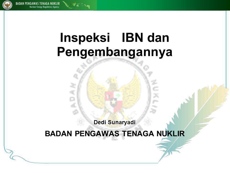 Inspeksi IBN dan Pengembangannya Dedi Sunaryadi BADAN PENGAWAS TENAGA NUKLIR 1 10-Jan-15