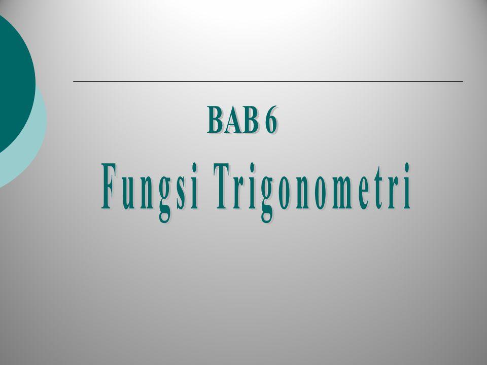 Fungsi Trigonometri, Pengertian-Pengertian Untuk menjelaskan fungsi trigonometri, kita gambarkan lingkaran-satuan, r = 1 Fungsi sinus Fungsi Cosinus Fungsi Tangent Fungsi Cotangent Fungsi Secan Fungsi Cosecan P Q  O [0,0] 1 1 x y r = 1 P' --