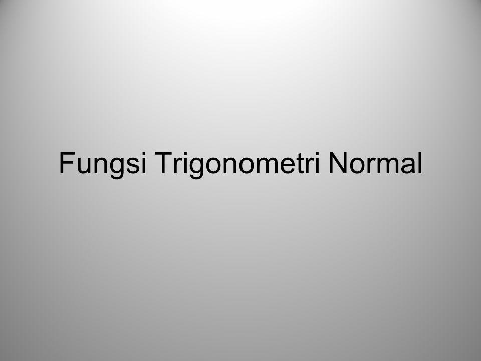 Fungsi Trigonometri, Normal Kurva Fungsi Trigonometri Dalam Koordinat x-y perioda 0 1 0 x y 22  x y 0 1 0   22 22 perioda pergeseran fungsi cosinus sejauh  /2 ke arah sumbu-x positif Contoh: Fungsi SinusFungsi Cosinus