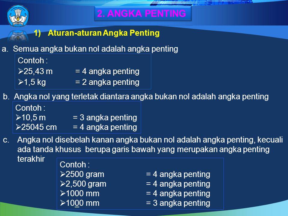 1)Aturan-aturan Angka Penting a.Semua angka bukan nol adalah angka penting Contoh :  25,43 m= 4 angka penting  1,5 kg = 2 angka penting Contoh :  2