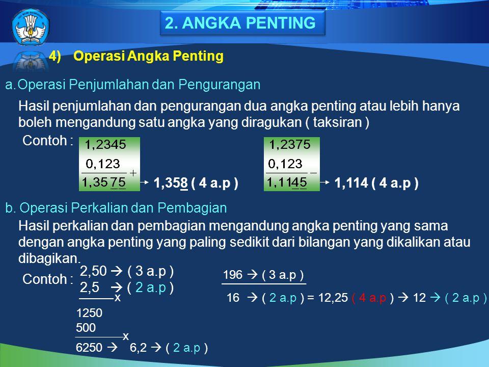 4)Operasi Angka Penting a.Operasi Penjumlahan dan Pengurangan Hasil penjumlahan dan pengurangan dua angka penting atau lebih hanya boleh mengandung sa